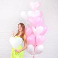 Фонтан из 15 бело-розовых сердец (12''/30 см)