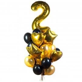 Фонтан шаров на День Рождения в золотом цвете