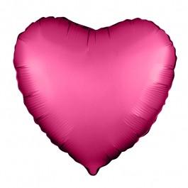 Сердце (18''/46 см), гранатовое (сатин)