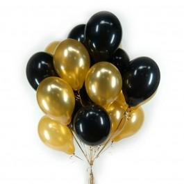 Облако из 21 чёрно-золотого шара