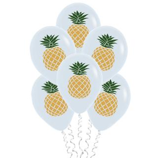 Шары с ананасами, белые (12''/30 см), пастель