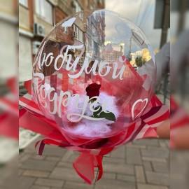 Красная роза в шаре Deco Bubble