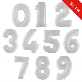 Шары цифры с гелием (40''/102 см), Белые