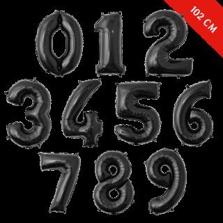 Шары цифры с гелием (40''/102 см), Черные