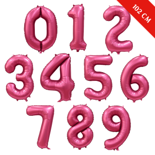 Шары цифры с гелием (40''/102 см), Бордовый сатин