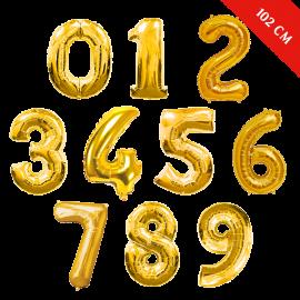 Шары цифры с гелием (40''/102 см), Золото