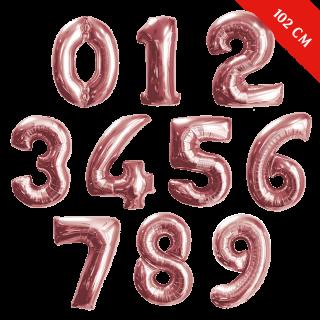 Шары цифры с гелием (40''/102 см), Розовое золото