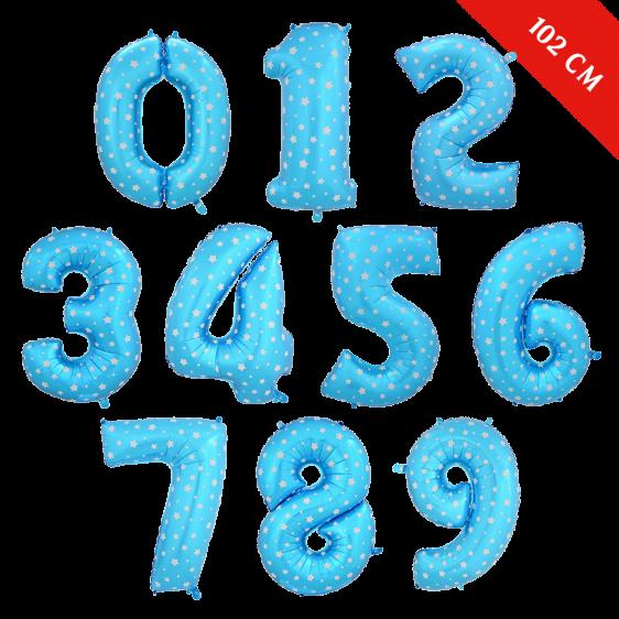 Шары цифры с гелием (40''/102 см), Голубые со звездами