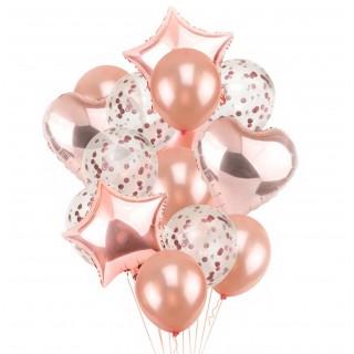 "Фонтан шаров в цвете ""Розовое золото"" с конфетти"