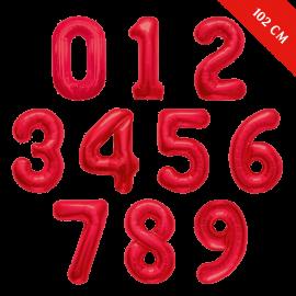 Шары цифры с гелием (40''/102 см), Красные
