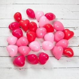 Красно-розовые сердца с воздухом