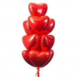 Красные фольгированные сердца (10 шт)