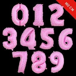Шары цифры с гелием (40''/102 см), Розовые с сердцами