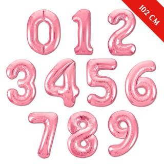 Шары цифры с гелием (40''/102 см), Розовые