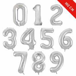 Шары цифры с гелием (40''/102 см), Серебро