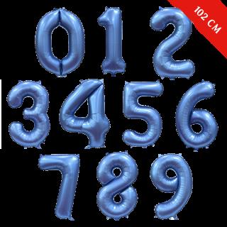 Шары цифры с гелием (40''/102 см), Синий сатин