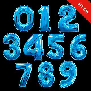 Шары цифры с гелием (40''/102 см), Синие