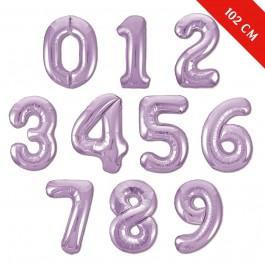 Шары цифры с гелием (40''/102 см), Сиреневые