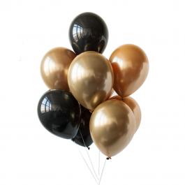 Облако из 11 чёрно-золотых шаров