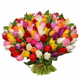 Букет из 101 ассорти тюльпанов