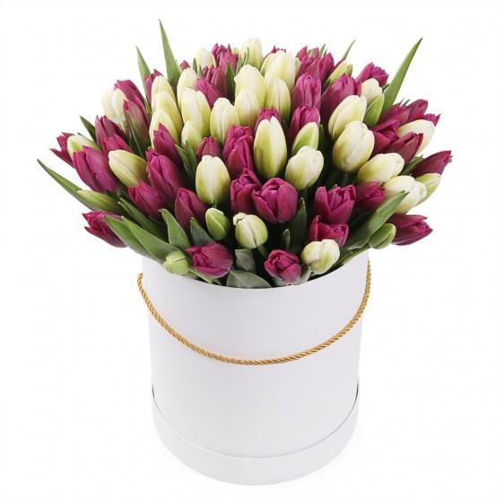 Букет из 101 тюльпана в коробке