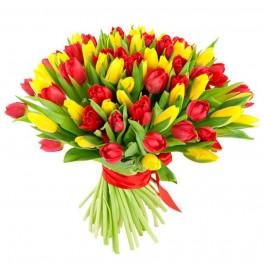 Букет из 101 красно-жёлтого тюльпана