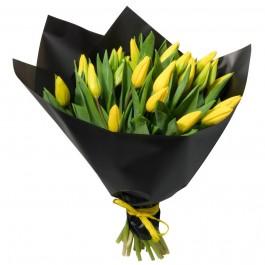 Букет из 21 жёлтого тюльпана