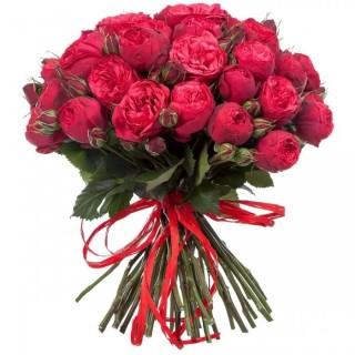 """Букет из 29 пионовидных кустовых роз """"Ред Пиано"""""""