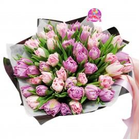 """Букет из 49 пионовидных тюльпанов """"Микс"""""""