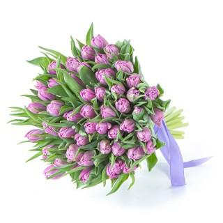 Букет из 49 сиреневых пионовидных тюльпанов