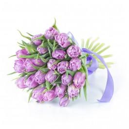 Букет из 25 сиреневых пионовидных тюльпанов