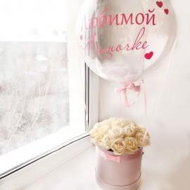 Коробка роз с Deco Bubble (24''/61 см), с надписью и перьями