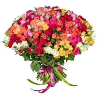 Букет из 55 ассорти кустовых роз, 60 см