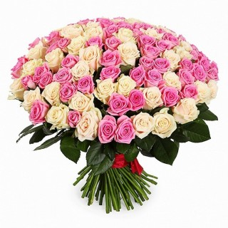 Букет 101 из кремово-розовой розы