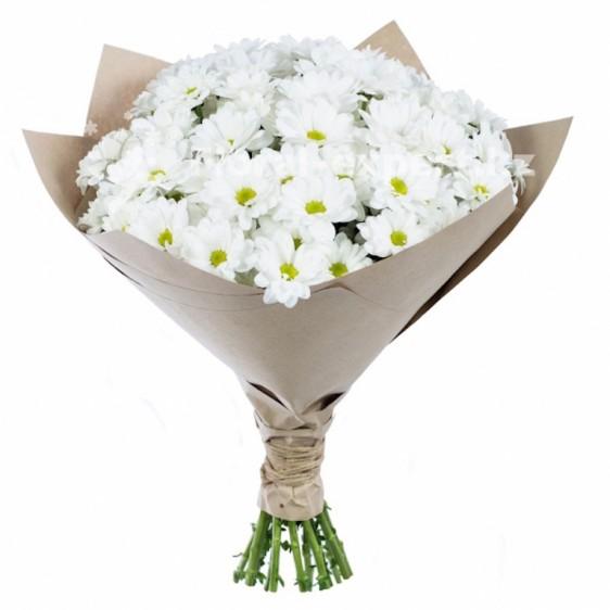 Букет из 9 белых хризантем