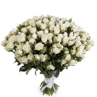 """Букет из 39 белых кустовых роз """"Сноу Флейк"""", 60 см"""