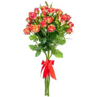 """Букет из 9 конфетных кустовых роз """"Фаерфлеш"""", 60 см"""