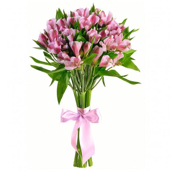 Букет из 9 розовых альстромерий