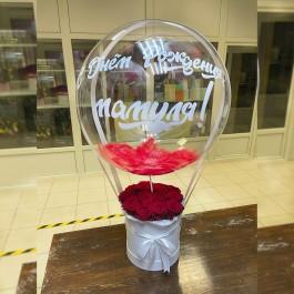 Коробка из 15 роз с шаром Deco Bubble