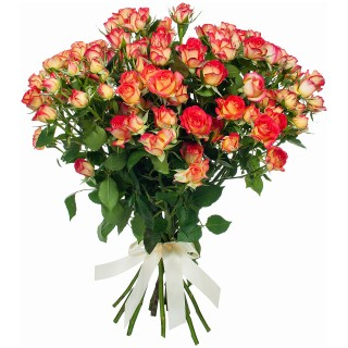"""Букет из 19 кустовых роз """"Саммер Дэнс"""", 60 см"""