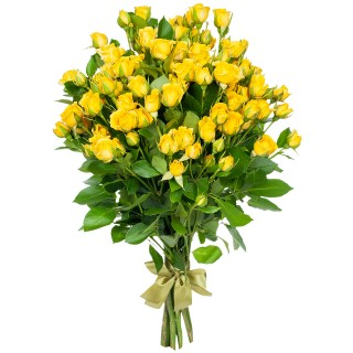 """Букет из 9 жёлтых кустовых роз """"Еллоу Бейб"""", 60 см"""