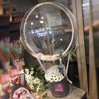 """Цветы в коробке с шаром Deco Bubble """"23 февраля"""""""