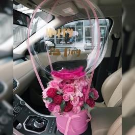 Коробка с цветами и шаром Deco Bubble