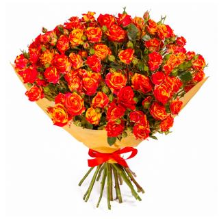 """Букет из 19 конфетных кустовых роз """"Фаерфлеш"""", 60 см"""