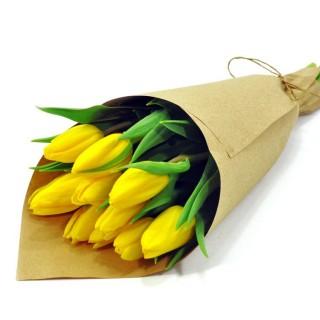 Букет из 9 жёлтых тюльпанов