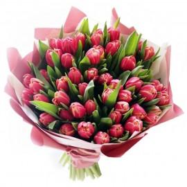 """Букет из 49 пионовидных тюльпанов """"Колумбус"""""""
