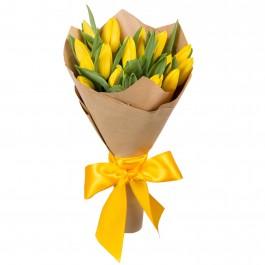 Букет из 15 жёлтых тюльпанов