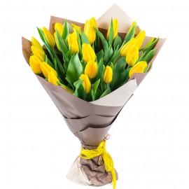 Букет из 25 жёлтых тюльпанов