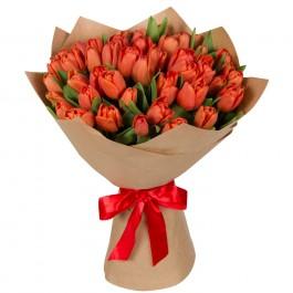 Букет из 49 оранжевого тюльпана