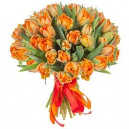 Букет из 49 оранжевых пионовидных тюльпанов